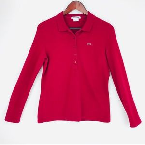 Lacoste Polo Shirt Long Sleeve Golf Top Red 42